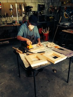 Micky Dolenz making the Shabby Chic Picture Frame in his home workshop.