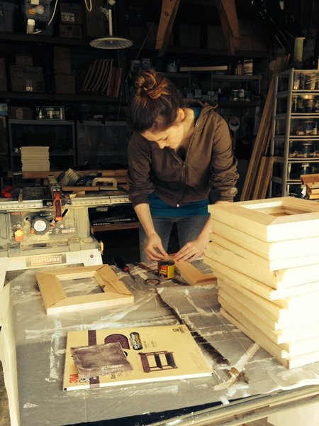 Georgia Dolenz applies finishing touches to Shabby Chic Picture Frames in the Dolenz and Daughters workshop
