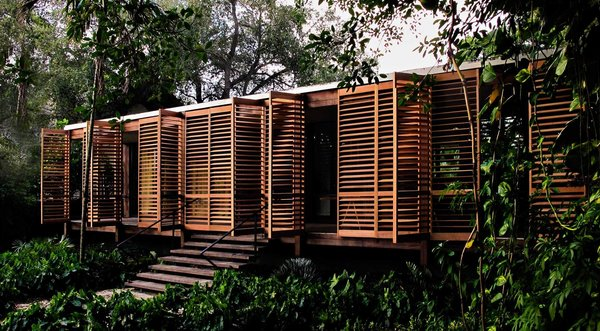 In this house in downtown Miami, lightweight, shuttered Western red cedar doors wrap the front porch to provide privacy and protection from the weather but support natural ventilation, which is important in biophilic design. The unstained wood will age naturally.