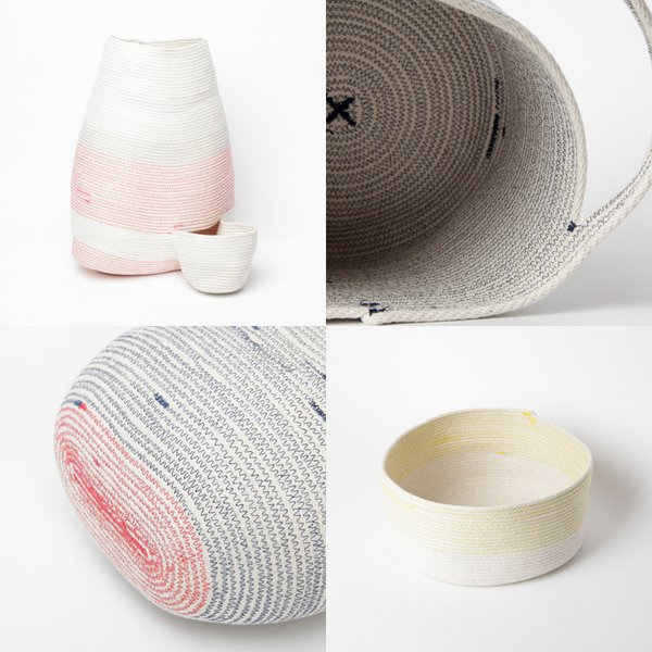 Woven cotton cord vessels by Doug Johnston, $90 to $260. Brooklyn-based artist Johnston (a Dwell favorite for quite awhile now) makes a variety of cotton-cord and sewing thread baskets, putting a fresh spin on traditional crafting techniques.