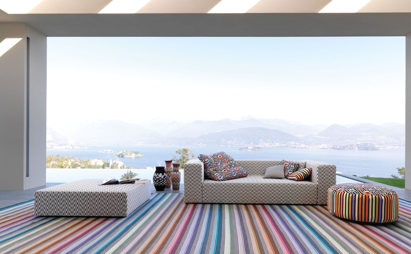 The Nap seating collection in the white chevron Rivas print.  Outdoor