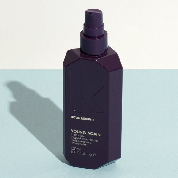 For Kevin Murphy's Young.Again, the designers cut the corners of the eggplant bottle to give the form a jewel-like surface.