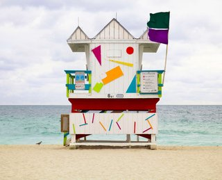These custom-built colorful cabins allow lifeguards to maintain a watchful eye over beachgoers in style. Part de-Stijl, part Saved by the Bell, we can picture Zack Morris wooing many a beach babe perched atop one of these. Southeastern Florida, USA. By Léo Caillard from the book Rock the Shack, Copyright Gestalten 2013.