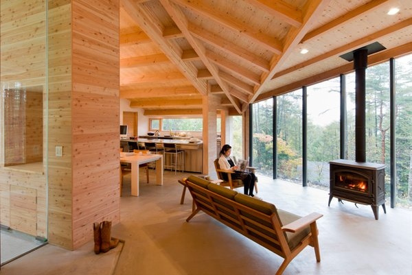 Every piece of the structure is crafted by local builders, according to traditional Japanese construction methods. Chubu, Japan. By Koji Tsutsui & Associates from the book Rock the Shack, Copyright Gestalten 2013.
