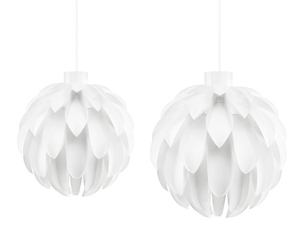 Norm 12 comes in two finishes, pure white and simple matt white, the extra large light is intended for hallways or larger rooms, while the small light is meant to be hung over a table or in a nook.