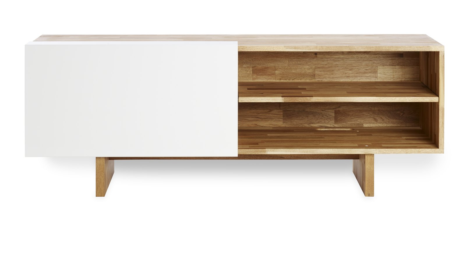 The Entertainment Shelf includes a panel that slides to reveal easy-to-reach shelves on either side.  Modern Furniture