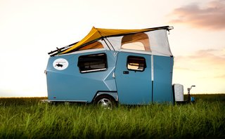 Texas. The Cricket Trailer, made in Houston, can sleep up to two adults and two children. With integrated fresh water and greywater tanks along with a water heater, campers can live off-the-grid in the easily towable unit.