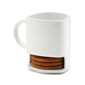 Designed by Dominic Skinner, this ingenious mug holds your coffee and your cookies, without needing a pesky plate. Dessert for breakfast? Yes, please.