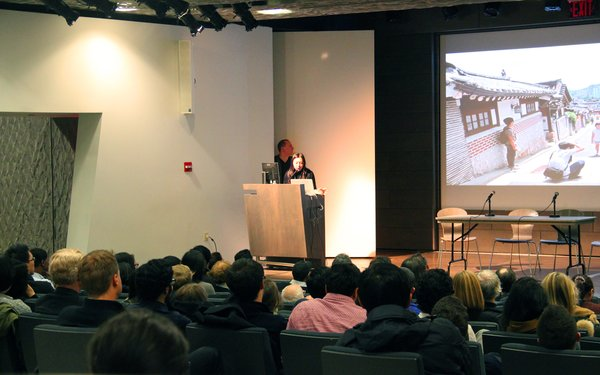 Florian Idenburg and Jing Liu of SO – IL speak to the crowd. Photo provided by The Architectural League of New York.