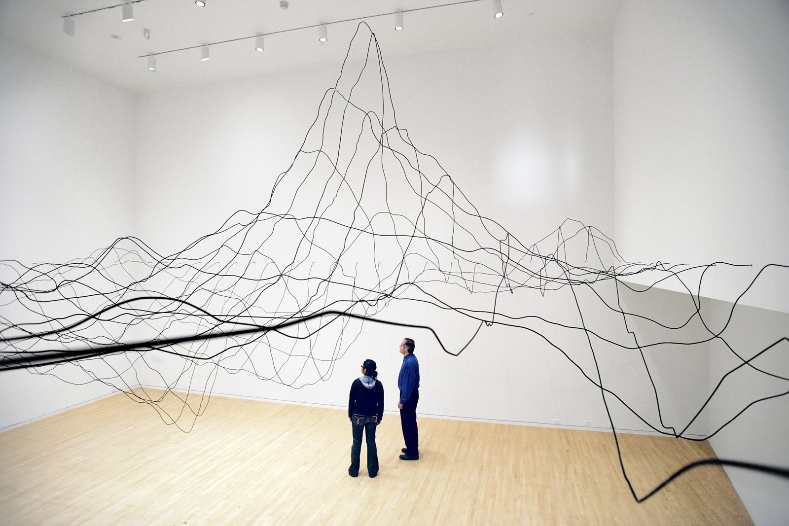 "Water Line, part of Lin's 2009 show Systematic Landscapes, is made from aluminum tubing and paint, and it is meant to mimic the topography of the ocean floor. ""Water is just something I'm fixated on, always have been.""  Photo 8 of 8 in Q&A with Architectural Designer and Artist Maya Lin"