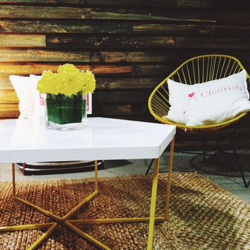 """@prettydarlingstuff: """"In love with this hexagon table from @chairishco! I wouldn't mind that super cute chair in the back too. #dod2014 #loveitwinit #chairishatdod #dwellondesign"""""""