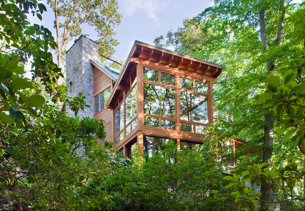 """Rill Architects' Retreat in the Woods  """"Simple forms and natural materials were key to the design of this home,"""" says Jim Rill, principal of Rill Architects who, along with project manager James Murray, designed a home that draws attention to the wooded surroundings and takes into account the owners' openness to innovation.  Cabins & Hideouts from Week in Review: 7 Great Reads You May Have Missed March 15, 2013"""