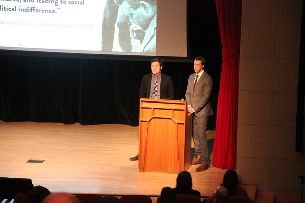 Michael Murphy and Alan Ricks of MASS Design Group at last Thursday's lecture. Photo credit: The Architectural League