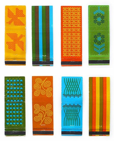 Patterned matchboxes designed by Saul Bass.