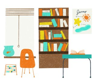 A nifty desk setting illustrated for Instructor Magazine (2011).