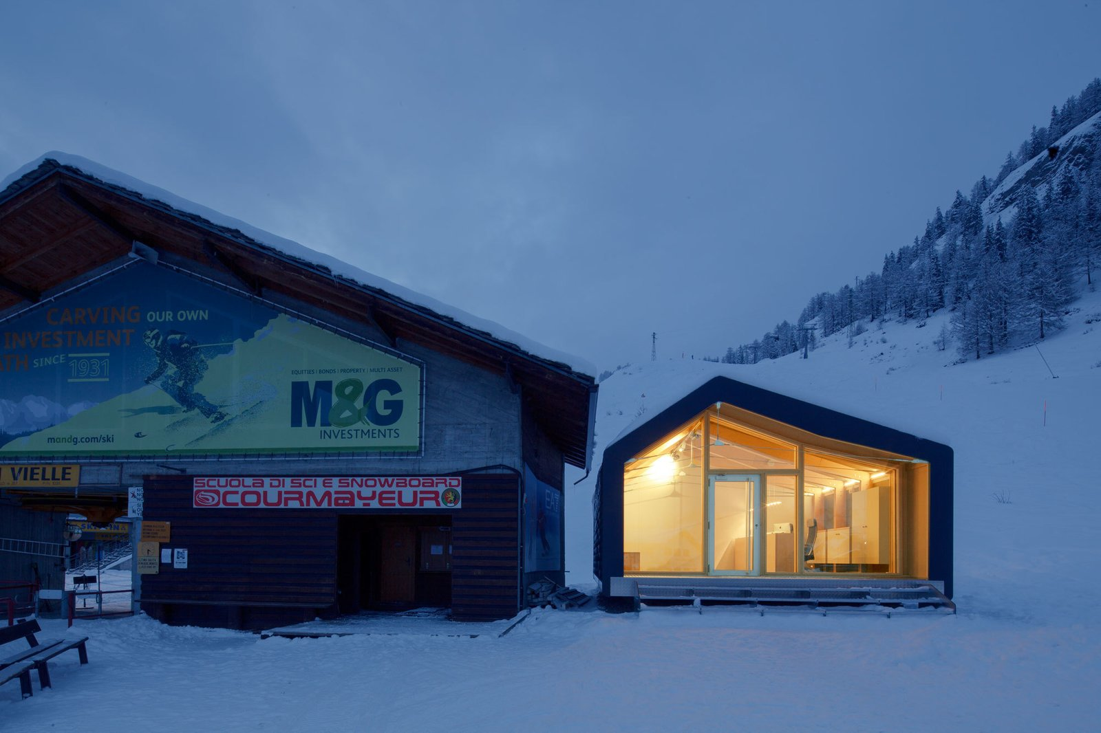 "Exterior, Shed Building Type, Gable RoofLine, Wood Siding Material, and Prefab Building Type Architect Stefano Girodo explains the building has a ""completely prefabricated and modular structure."" It was built using recyclable and environmentally friendly materials and designed to ensure easy mechanical assembly once on site.  Photo 2 of 7 in This Prefab Ski School in the Alps Took 10 Days to Assemble"