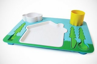 Create a picturesque setting with this Landscape Dinner Set designed by Doiy Design. Each piece is completely removable and when finished, could perhaps double as a temporary plaything.  (Pin).