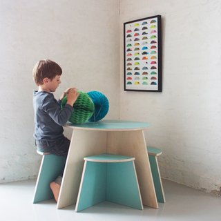 All four parts of this Circle Table with 4 Small Stools by Small Design can be put together in different geometric shapes. (Pin).