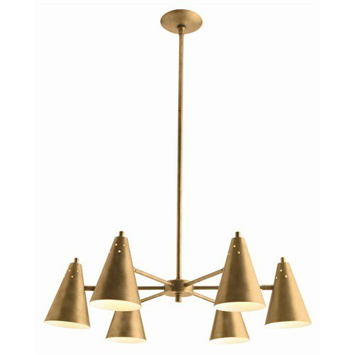 SHERMAN 6L ANTIQUE BRASS CHANDELIER  Add a touch of brass to your space with this antique brass chandelier from Project Décor featuring swivel shades with white interiors.  Fall Design Trend: Gold, Brass, and Copper Accents by Megan Hamaker