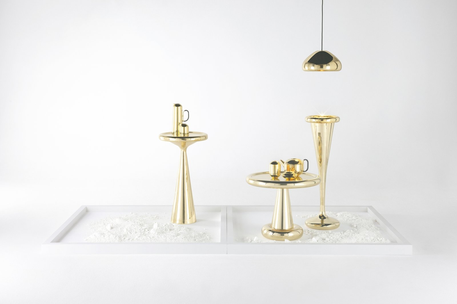 """Spun"" references the space age, with Art Deco and pop influences; these three pieces are meant to imbue ""disco glamor.""  Tom Dixon's New Collection for Salone 2013 by Olivia Martin"