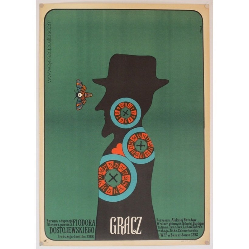 Gracz (The Player), original Polish film poster by Jerzy Flisak c. 1973  Photo 9 of 10 in 10 Posters from Poland's Golden Age of Graphic Design