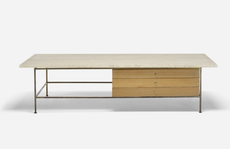 American designer Paul McCobb's travertine-topped coffee table from the Irwin Collection (check out the corresponding cabinet with hutch as well) is estimated to go for $1,000-$1,500 with no reserve.
