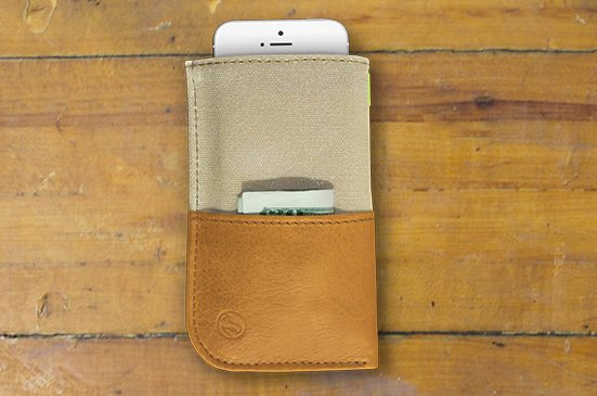 The wallet in Natural waxed canvas.  Photo 1 of 6 in A Wallet for Your Phone?