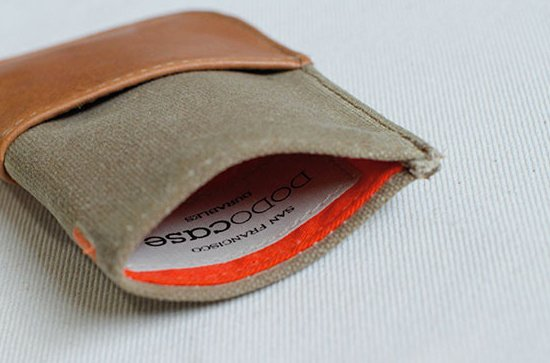 The interior of the sage wallet adds a wonderful pop of orange.  Photo 4 of 6 in A Wallet for Your Phone?
