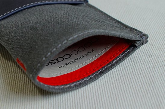 The navy wallet is paired with a red interior.  Photo 6 of 6 in A Wallet for Your Phone?