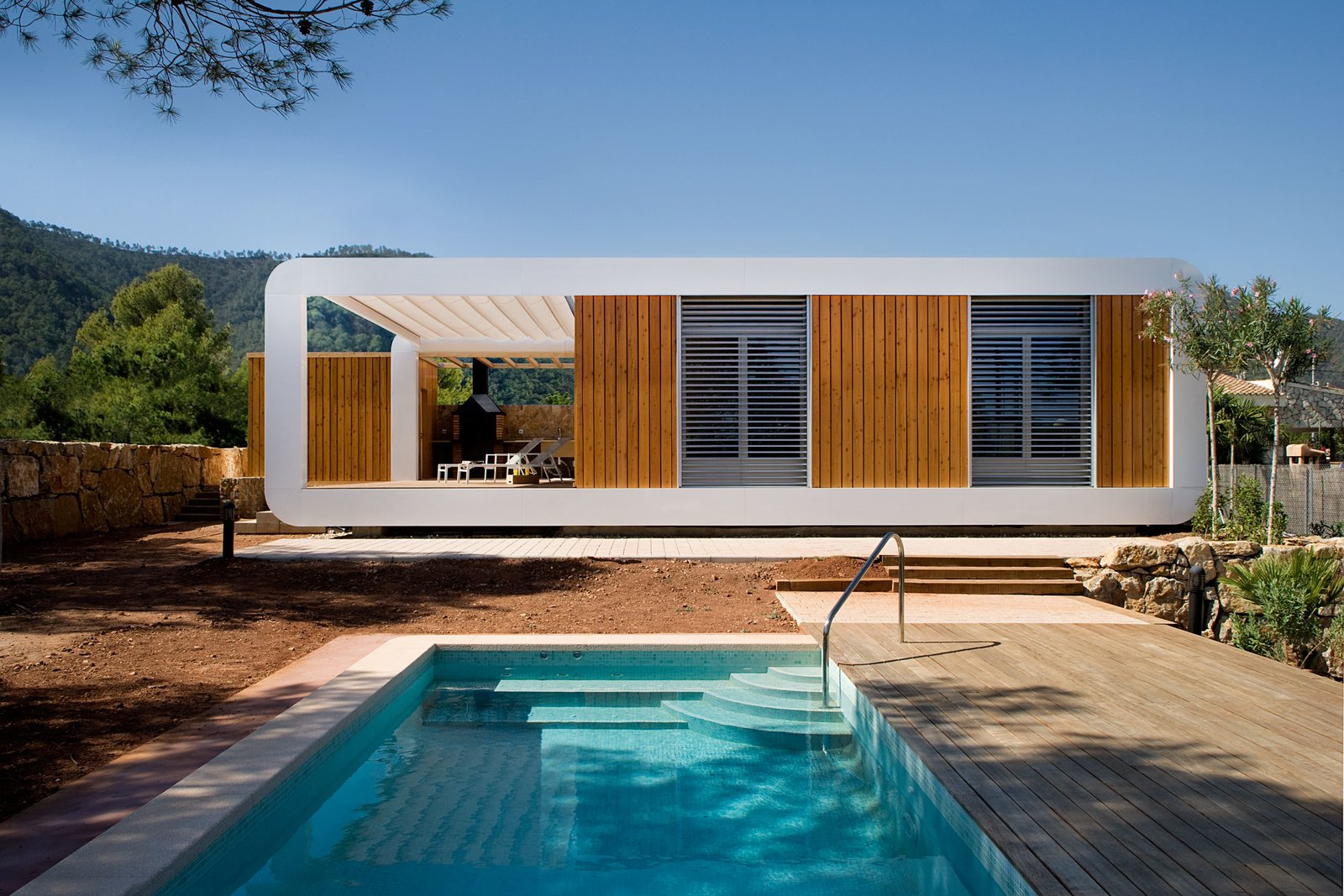 prefab house with pool