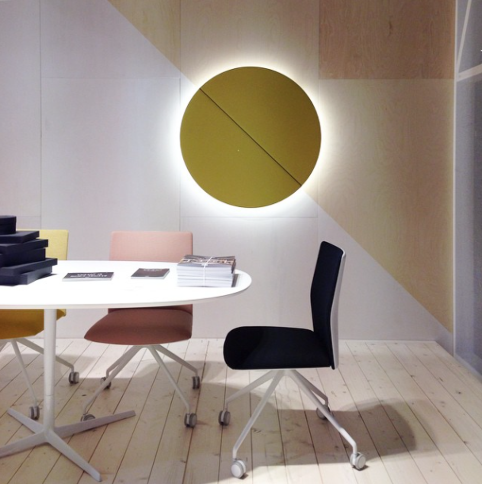 Stealth is the name of the game at @ArperSPA where an wall-mounted acoustic panel hides a speaker and lighting and the new task chairs discreetly integrate adjustment handles into the seat's base.  Editors' Picks from Salone del Mobile 2015: Day One by Dwell