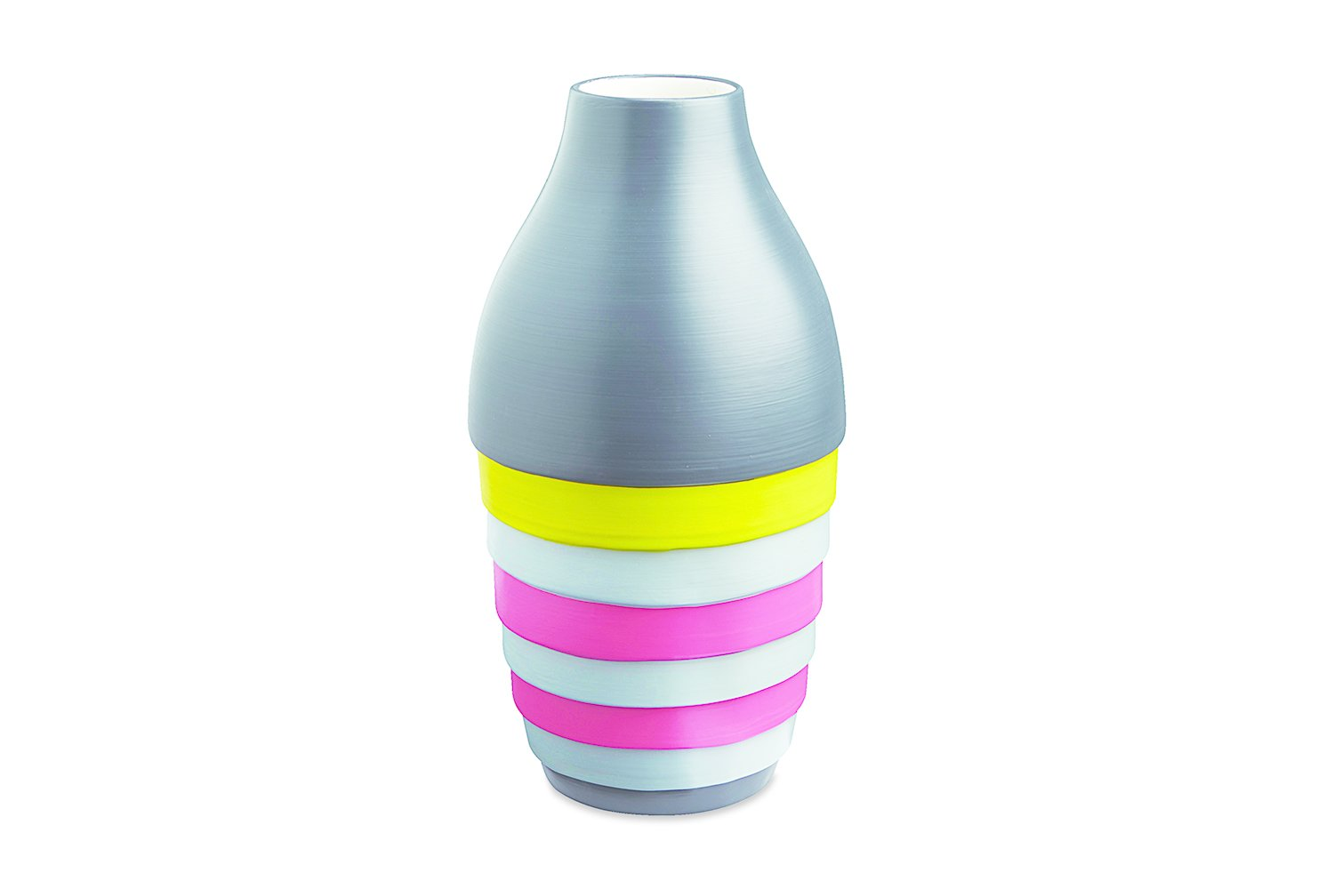 """Xystum Color Block vase by CB2. Postmodernism appropriates classical cues in a Pop-y, contemporary manner. Therefore, this vase's name, a Greek architectural term loosely translated as """"portico,"""" is apropos.  Search """"milan 2010 in color"""" from Striking Memphis-Inspired Designs"""