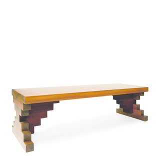 Conny Plank bench by Al Que Quiere. Principal Matthew Sullivan named his solid walnut bench with a waxed finish after a German music producer. We see a bit of Memphis in the stair-stepped design.