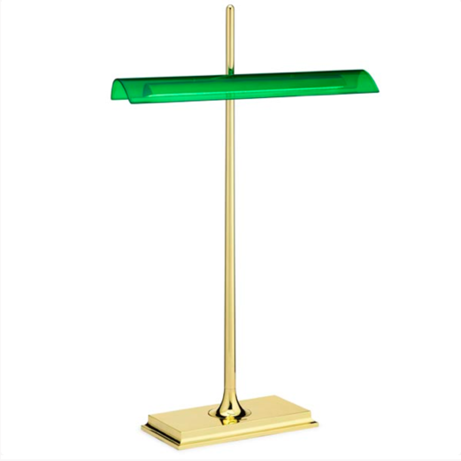 """A modern take on an old classic, the Goldman Table Lamp is a high-powered desk lamp with a minimal footprint. The lamp is available with a gold base and transparent diffuser, reminiscent of traditional banker's lamps, or in a more refined black and grey design. The lamp is illuminated by an optical switch on its base and uses soft touch dimming technology so it's easy to adjust between decorative accent light and pronounced workspace lighting.  Search """"pixo desk lamp graphite"""" from Italian Design Favorites in Honor of Salone del Mobile 2015"""