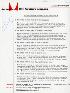 """An annotated page from a 1952 dealer packet (""""Wow! What a chair"""") highlights the """"selling slants"""" that can be used."""