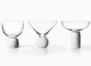 The punnily titled On The Rock collection of glassware further exemplifies Lee Broom's seamless merging of mixed materials.