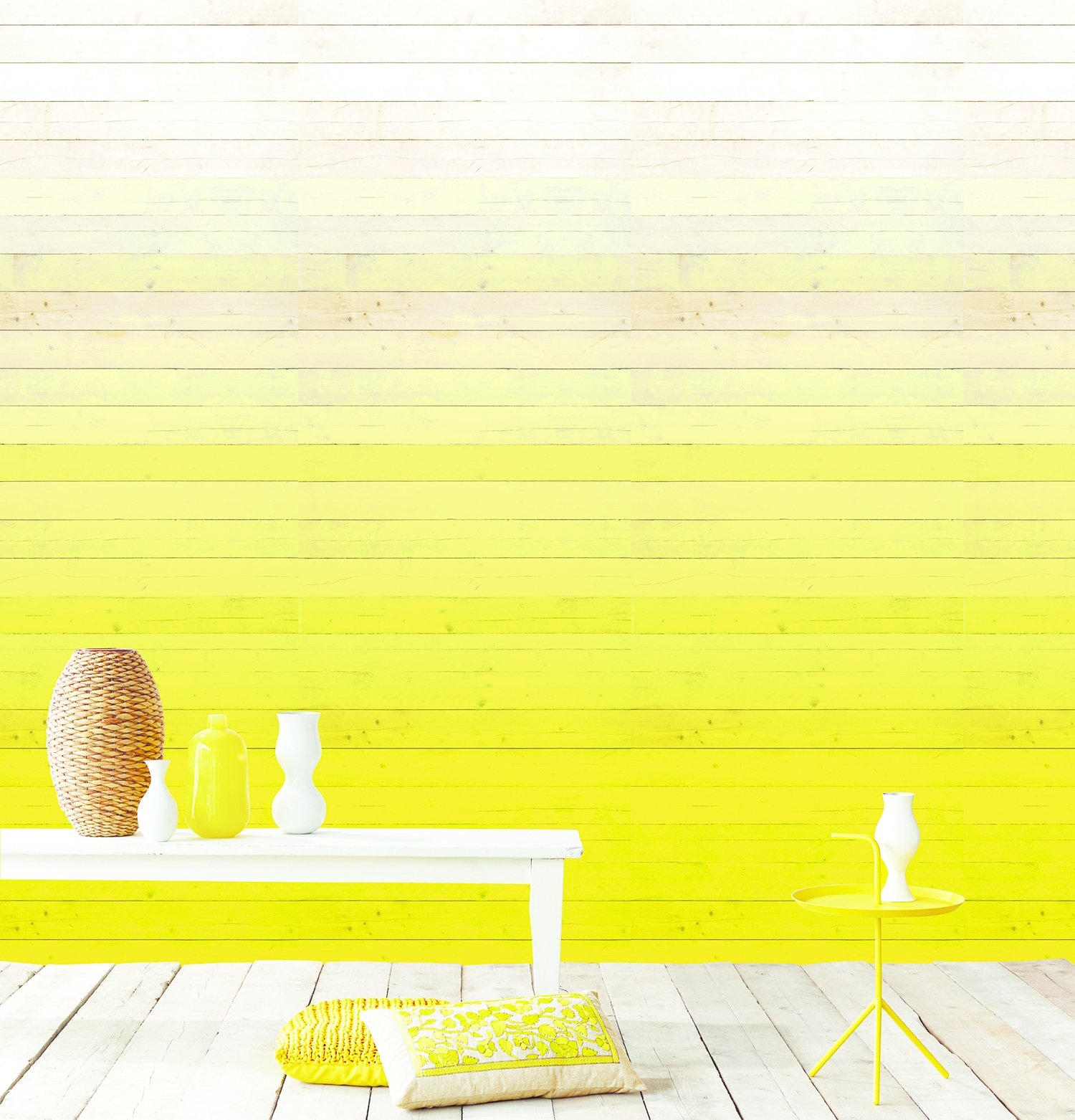 Degrado Amarillo wallpaper by Eijffinger. The Dutch company's Ibiza collection saturates walls in degrees with a photorealistic paper that adds an of-the-moment gradient  effect.  Colorful Intentions from Home Trend: Pastel Furniture and Accessories