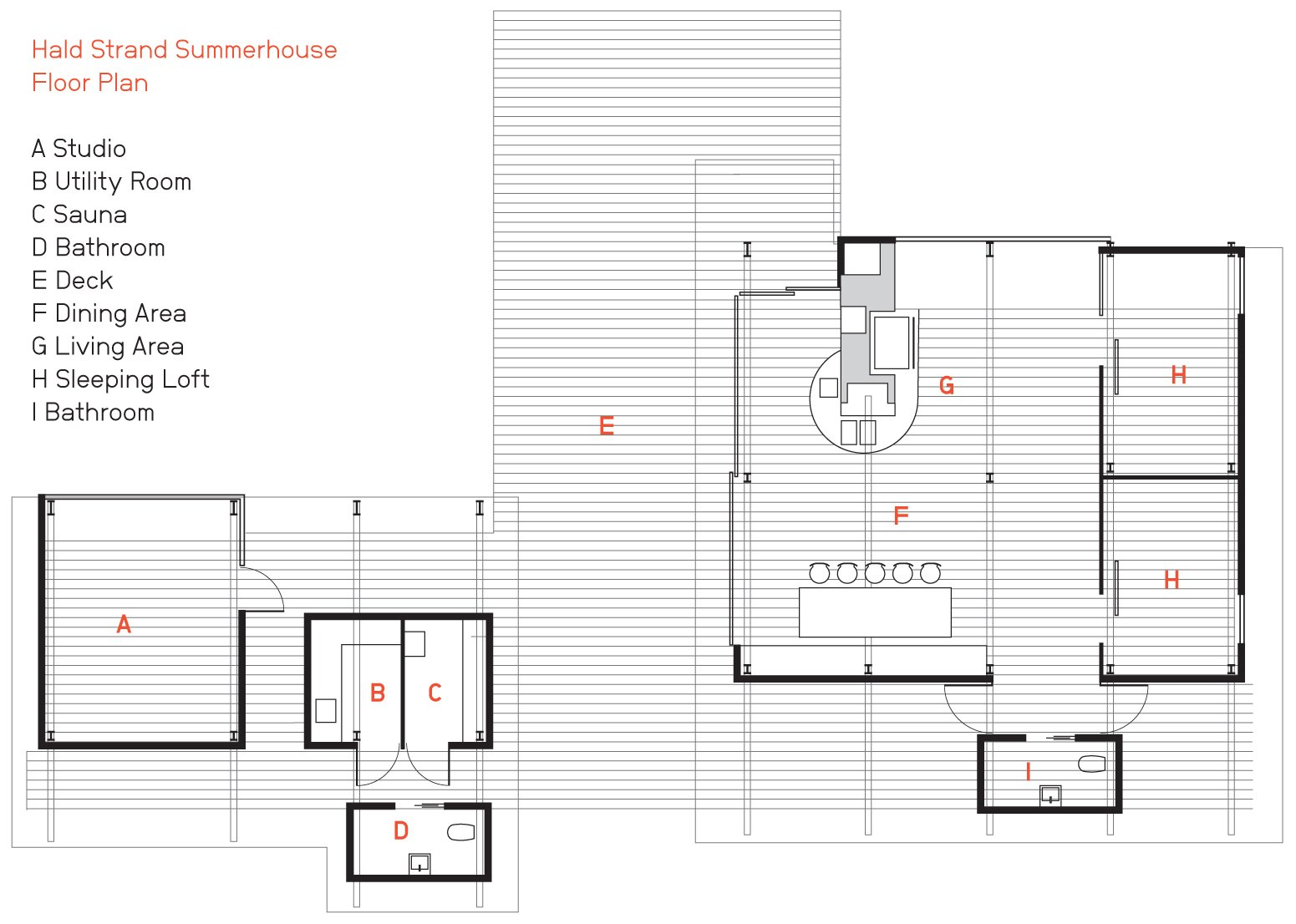 The Hald Strand Summerhouse floor plan.  Photo 3 of 5 in A Playful Summer Home with Some Serious Angles