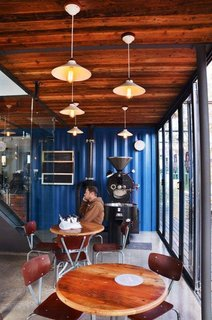 The architects retained the original blue shade of the shipping containers.