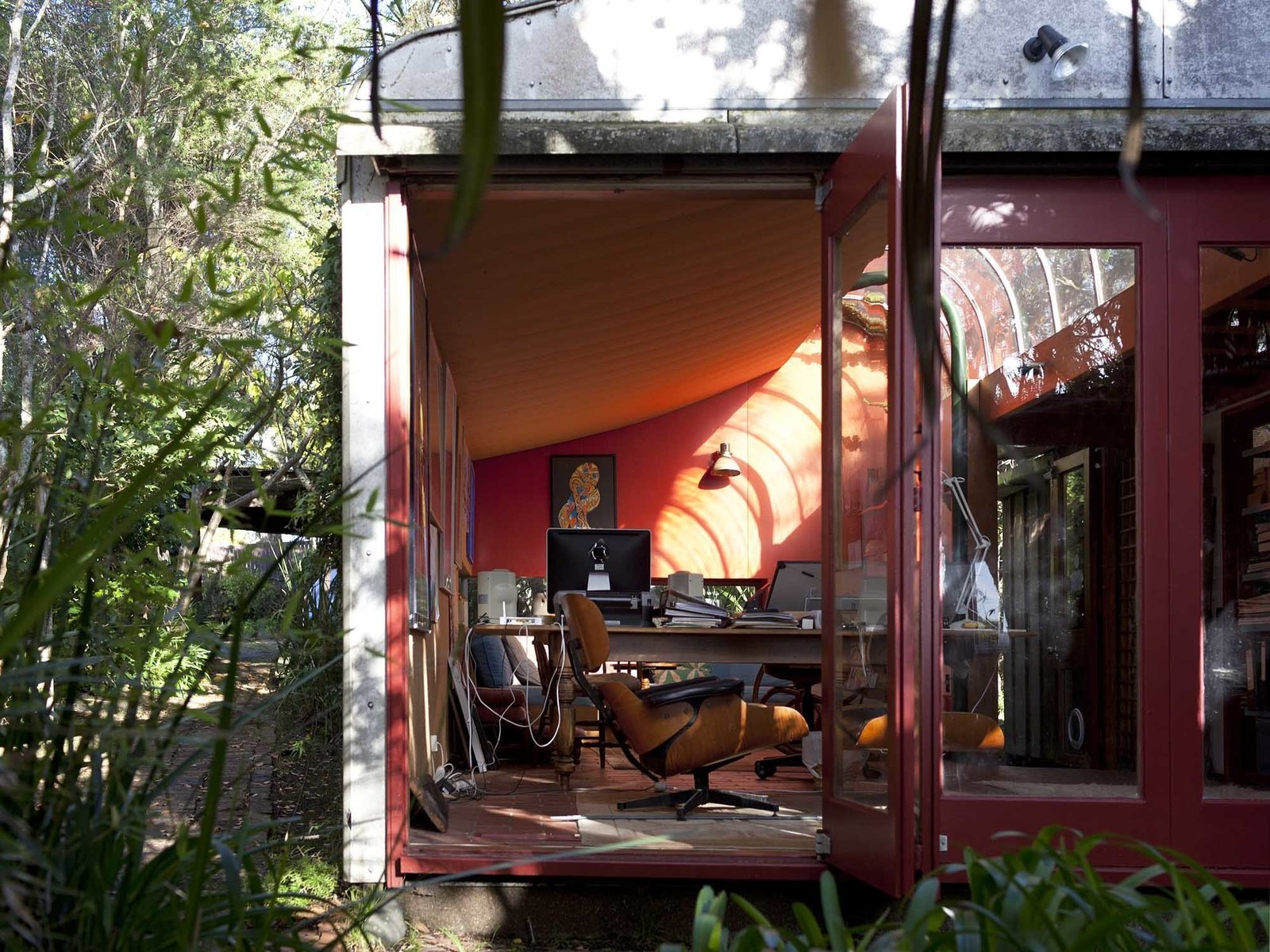 Office, Terra-cotta Tile Floor, Study Room Type, Desk, Lamps, and Chair Manning House by Jack Manning (1960)  Decades Old, the Modernist Houses of New Zealand Have No Shortage of Charm by Allie Weiss