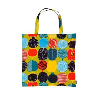 Made from heavyweight 100% cotton in Marimekko's signature bold and graphic style, the Kompotti Bag is a flat tote designed to travel where you do. Durable enough to bring to the grocery store but stylish enough to bring to the office, the Kompotti Bag is perfect for that extra bit of storage. With a thin profile, this tote is easy to fold and pack into another bag or suitcase, and it is also durable enough to hold groceries, books, or other items. The graphic textile print was designed by Aino-Maija Metsola.