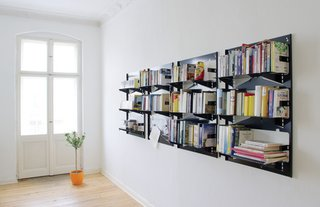This original laser-cut-powder-coated steel Piegato shelf was released in 2007. Following simple instructions, you can fold the sheet into a three-shelf bookcase in a matter of minutes, then attach it to a wall with just a few screws.