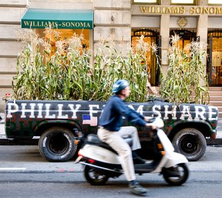 """Of their team's differing viewpoints, DIGSAU says """"the dialogue that forms in disagreements drives projects."""" Here, the firm's Corn Mobile. 2008. Photo by John Egly-Russell."""