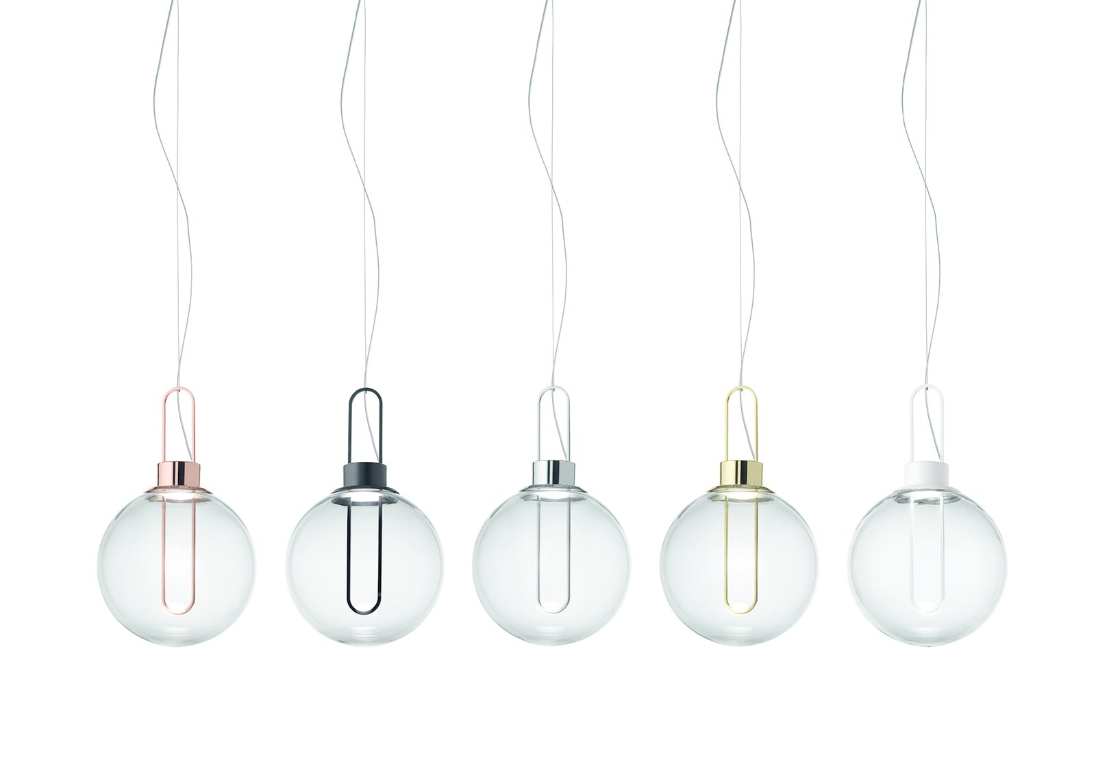 The studio also had a piece in Euroluce, the bi-annual lighting fair. The Orb pendant features a smoked glass shade and metallic elements that reference the look of lightbulb filaments.  Photo 11 of 16 in 11 Emerging Talents You Should Know from Salone Satellite 2015