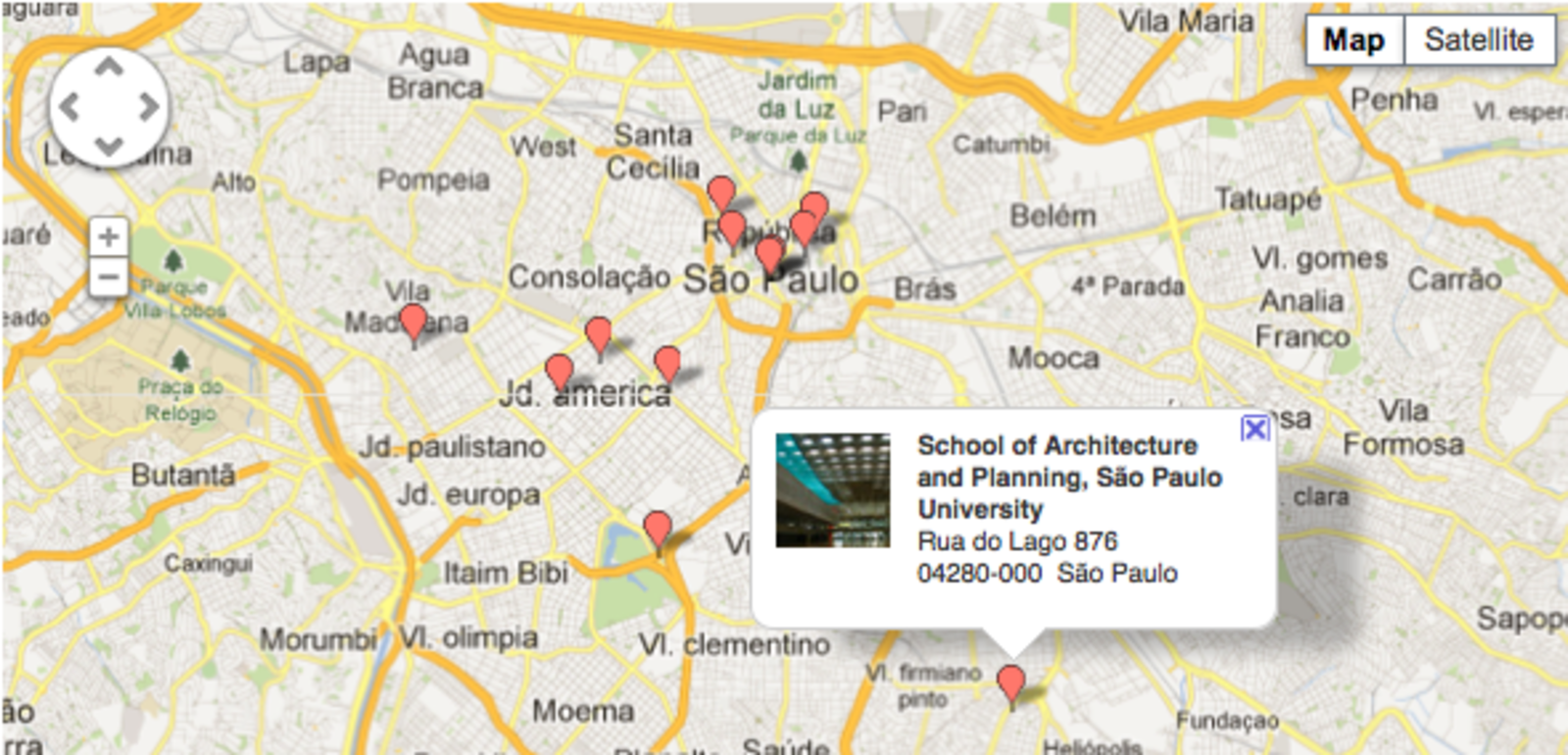 A glimpse at Dwell.com's map of São Paulo's design highlights.  Photo 1 of 8 in Destination of the Week: São Paulo