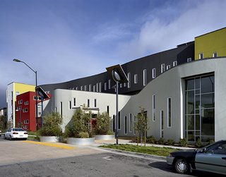 Part of the Tassafaronga Village affordable-housing complex in Oakland, California, this 60-unit apartment building anchors the new neighborhood and surpasses California's already-strict energy standards by 47.5 percent.