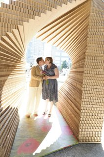 Kiss Chapel (New York, United States: 2011)  A Central Park pop-up celebrating marriage equality, this helix of honeycomb cardboard by Z-A Studio is itself a metaphor for the institution of marriage, since the two pillars can't stand without each other. A dozen couples tied the knot under the temporary structure, which was conceived of and constructed in five days.   Photo by Roman Francisco