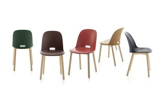 The Alfi chair by Jasper Morrison for Emeco is made from recycled materials and responsibly harvested wood.
