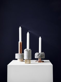 At designjunction, New Works of Copenhagen displayed these candlesticks, which explore different concrete textures.