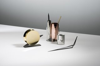 Also at designjunction, metallic desk accessories by Beyond Object that appeal to your inner magpie.